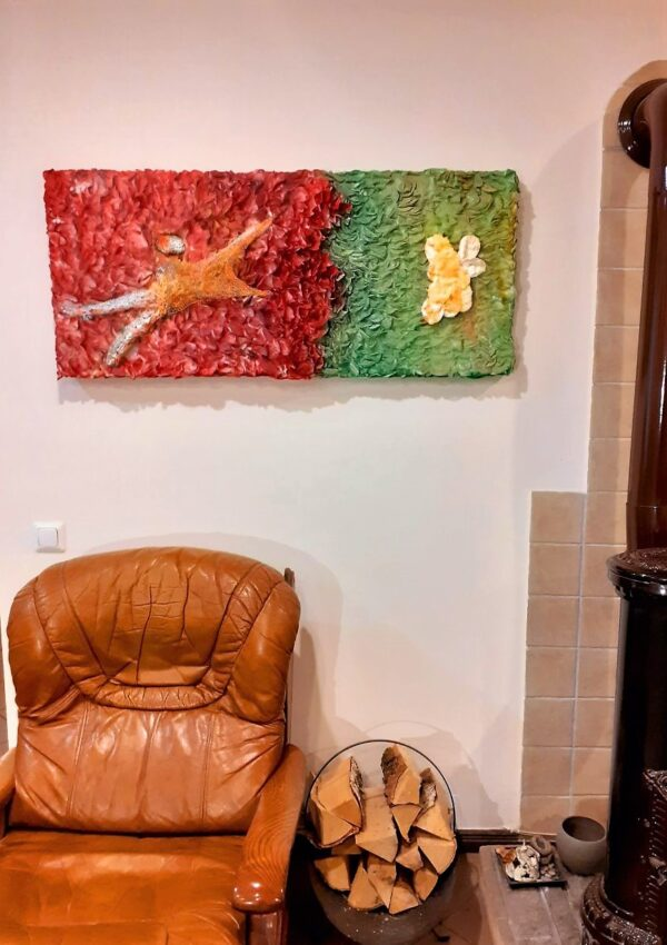 """Panting """"Nor Mars his sword nor war's quick fire shall burn the living record of your memory"""" by W2W. Interior shot"""