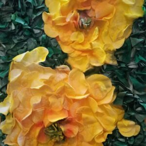 "Cotton painting ""The evening scent of floribunda"" by W2W for sale. Close-up"