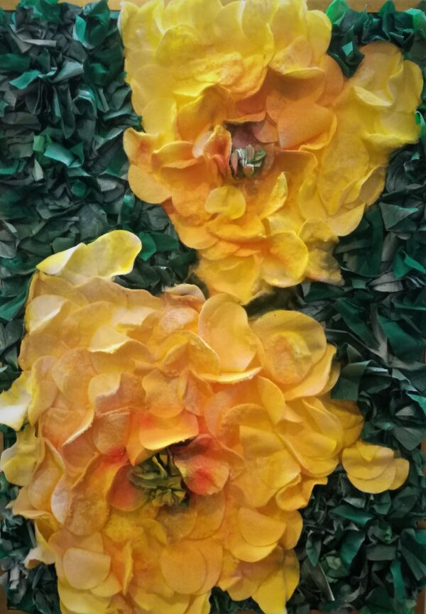 """Cotton painting """"The evening scent of floribunda"""" by W2W for sale. Close-up"""