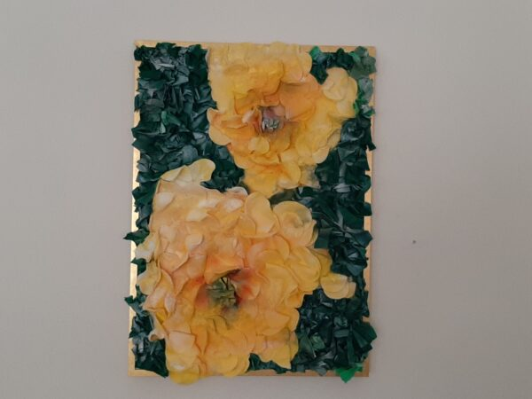 "Cotton painting ""The evening scent of floribunda"" by W2W for sale. On a wall"