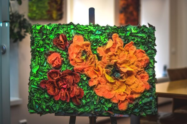 """Cotton painting """"Fair flowers that are not gather'd in their prime"""" by W2W"""